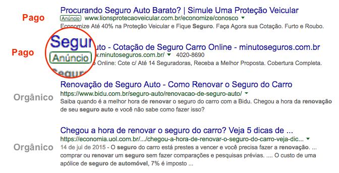 Página de resultados da Google com anúncios pagos
