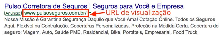 Google Ads anúncio URL de visualização