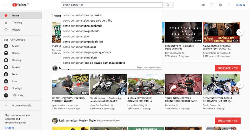 YouTube mecanismo de busca