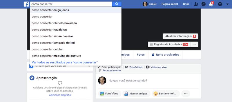 Facebook mecanismo de busca