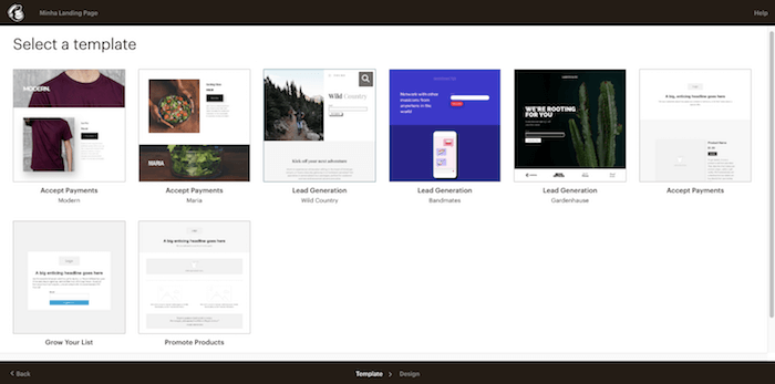 Modelos de landing pages para campanhas de e-mail marketing