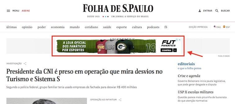 Anúncio da Rede de Display na Folha de São Paulo