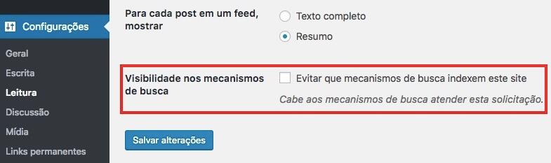 WordPress permissão para mecanismos de busca