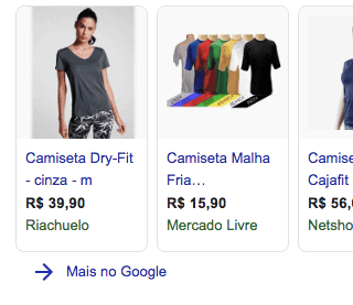 Botão Mais no Google do Google Shopping
