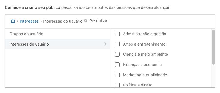 Modelos pré-definidos de públicos por interesse no LinkedIn