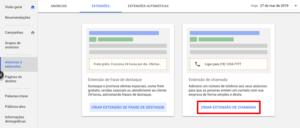 Google Ads extensão de chamadas para anúncios