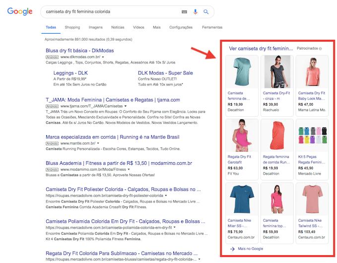 Google Shopping anúncios na coluna da direita