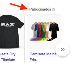 Google Shopping links patrocinados na página de resultados