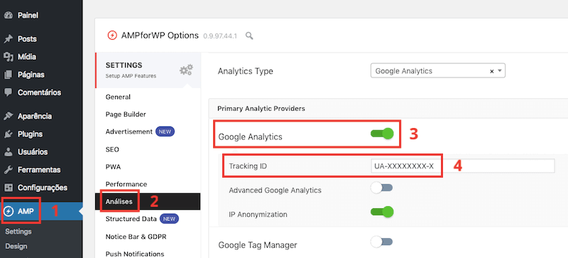 Google Analytics no plugin AMP for WP para WordPress