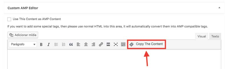 Função de copiar o conteúdo do editor HTML do WordPress para o editor AMP