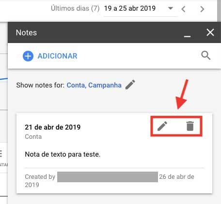 Google Ads ícones de editar e apagar notas de texto