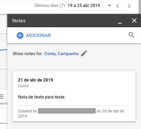 Google Ads janela de informações sobre a nota de texto