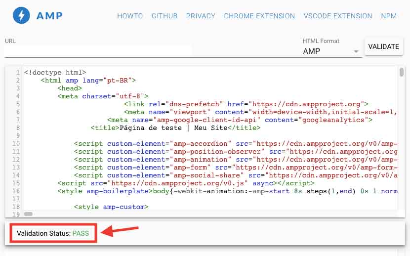 HTML página AMP Validator Pass