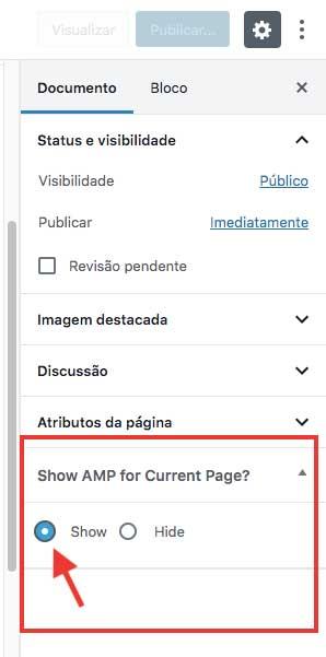 Marcar a opção Show para exibir a versão AMP da página