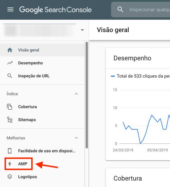 Menu páginas AMP no Google Search Console