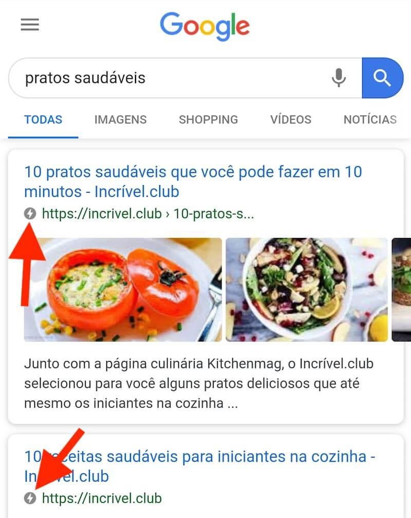 Páginas AMP nos resultados de busca do Google