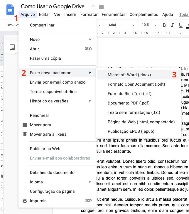 Como baixar documentos do Google Drive