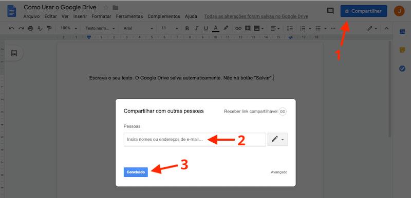 Como compartilhar documentos no Google Drive