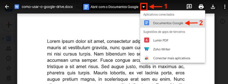 Como converter documentos criados em outros programas no Google Drive.