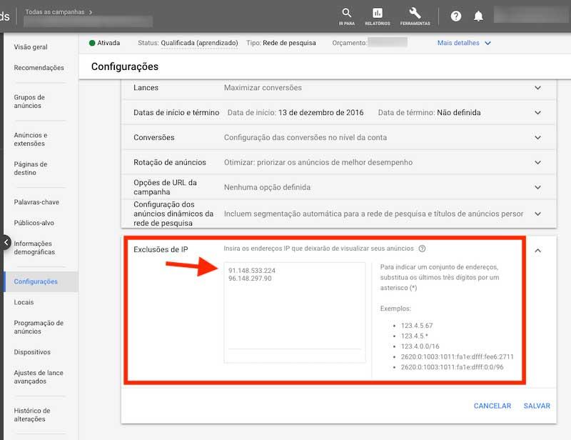 Campo para excluir endereços de IP no Google Ads