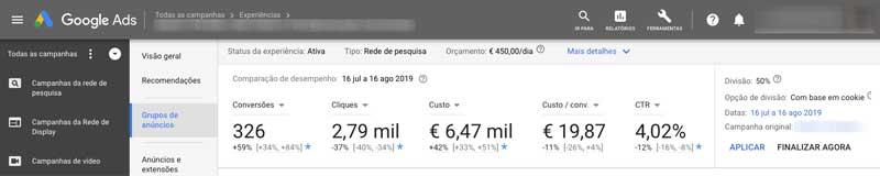Comparar resultados das experiências de campanhas no Google Ads