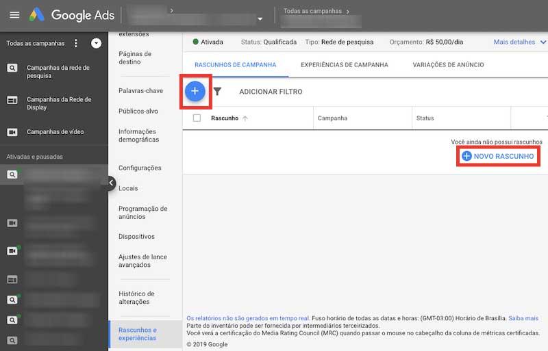 Como criar um rascunho de campanha no Google Ads