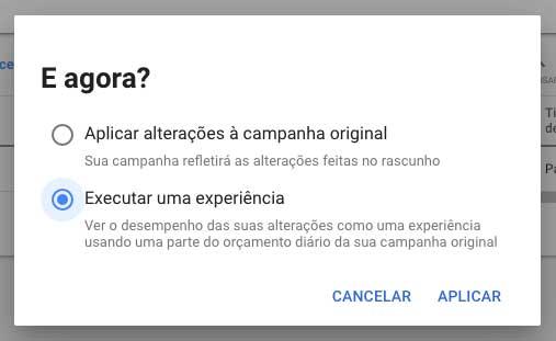 Google Ads, executar uma experiência