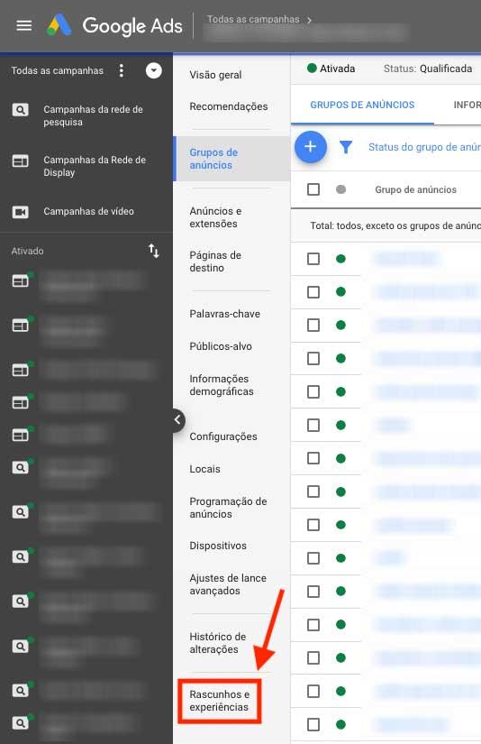 Rascunhos e experiências no Google Ads