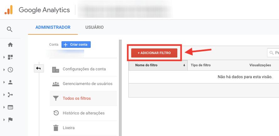 Google Analytics, adicionar filtro