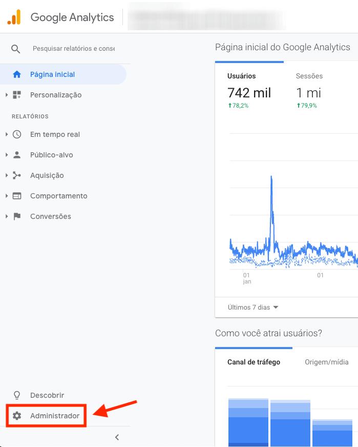 Google Analytics, menu administrador