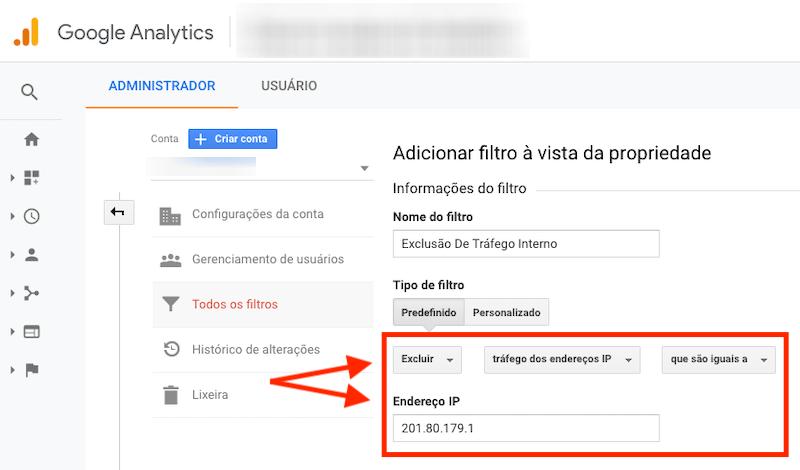 Google Analytics, critérios do filtro e endereço do IP