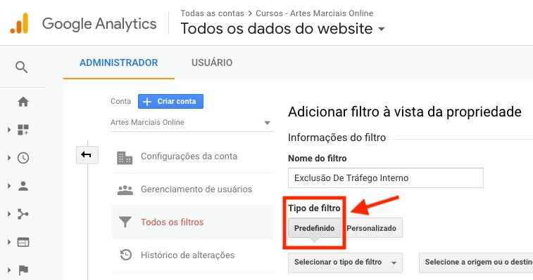 Google Analytics, tipo de filtro