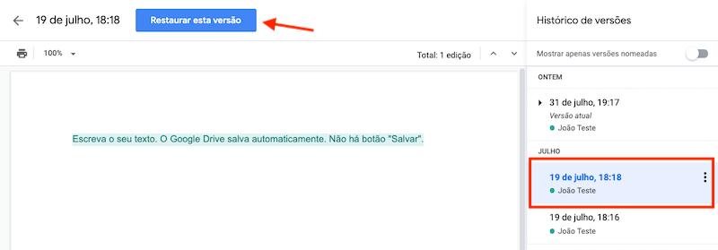Como restaurar uma versão anterior de um documento no Google Drive
