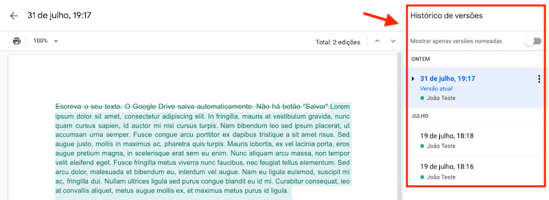 Como ver o histórico de alterações em documentos no Google Drive