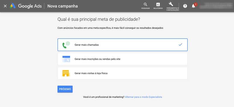 Escolher meta para nova campanha inteligente no Google Ads