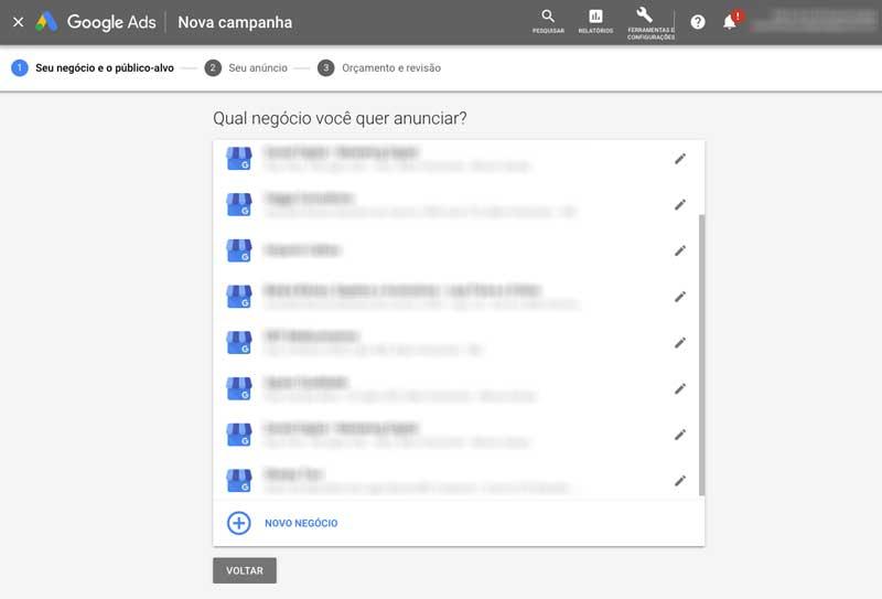 Conectar conta Google Meu Negócio à Campanha Inteligente no Google Ads