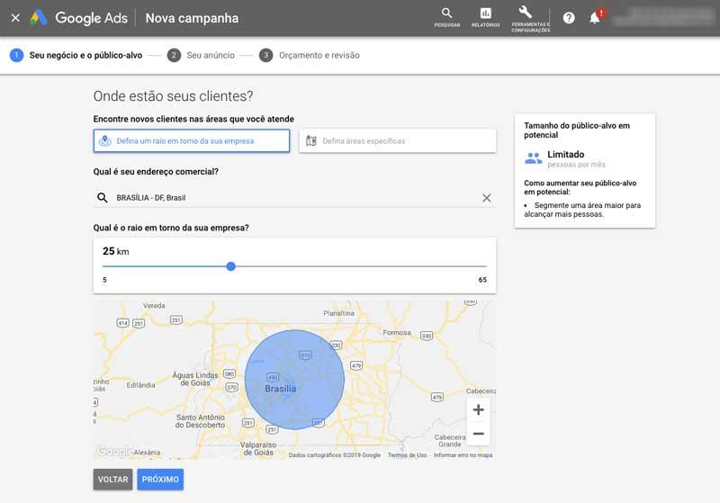 Definir segmentação de local para campanha inteligente no Google Ads