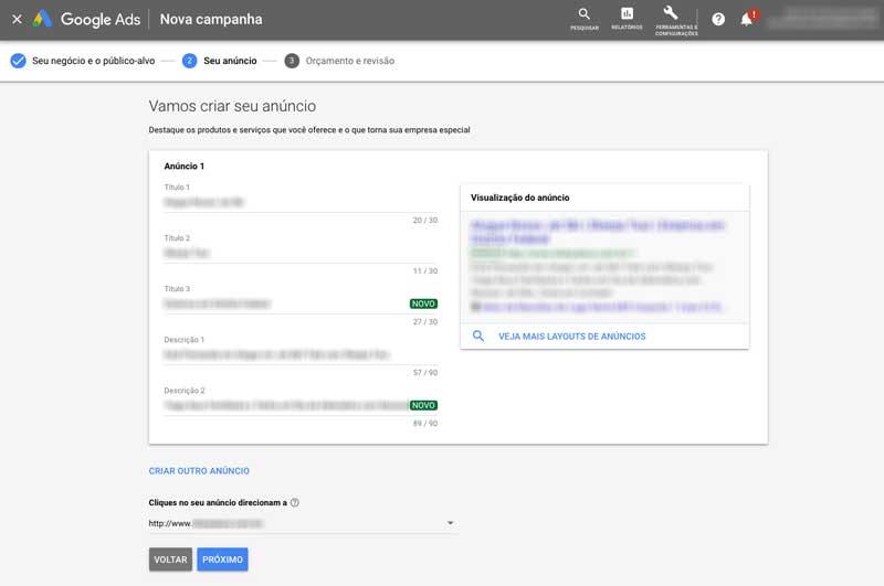 Escrever anúncio da campanha inteligente no Google Ads