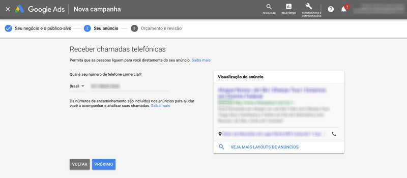Insira seu número de telefone comercial na campanha inteligente no Google Ads