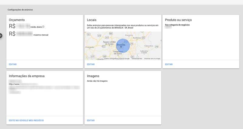 Painel de configurações dos anúncios da sua campanha inteligente no Google Ads