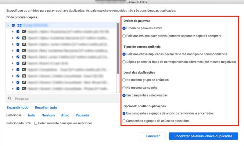 Google Ads Editor, critérios para exibir lista de palavras-chave duplicadas
