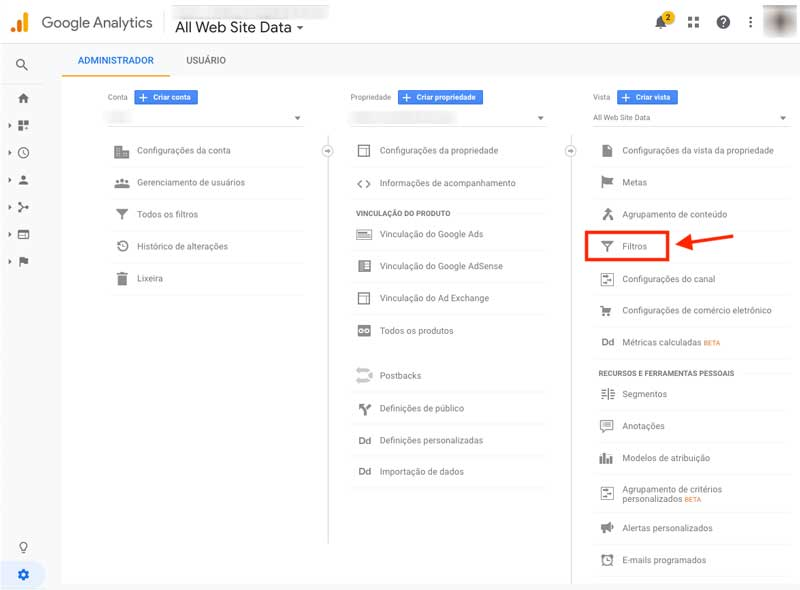 Filtros do Google Analytics