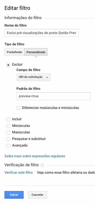 Editar filtro no Google Analytics