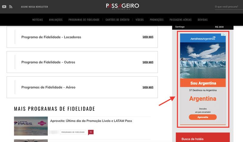 Anúncio de display em site