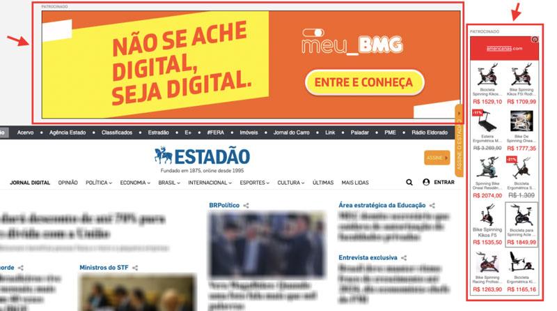 Anúncios de display em jornal online