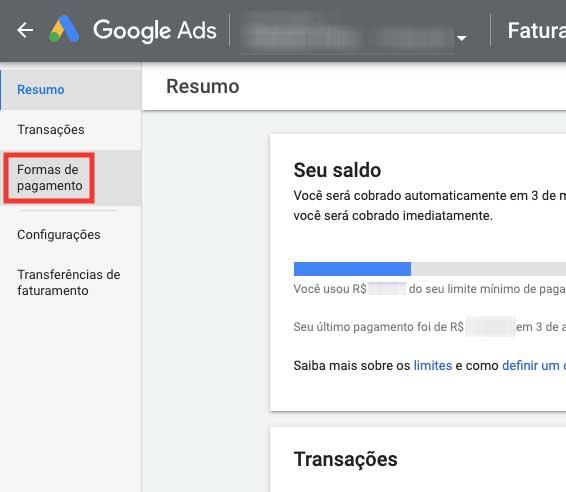 Resumo do pagamento no Google Ads