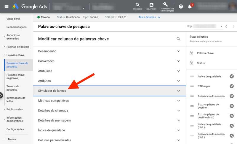 """Adicionar categoria de colunas """"Simulador de lances"""" no Google Ads"""
