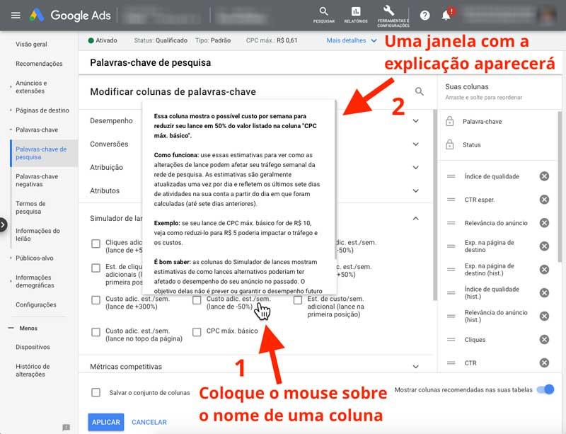 Explicação das colunas do simulador de lances do Google Ads