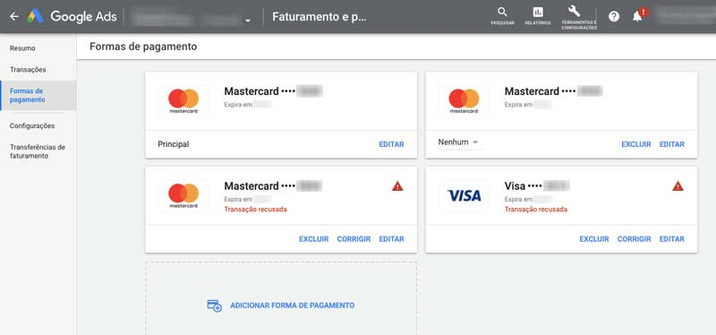 Formas de pagamento no Google Ads