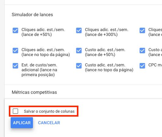 Salvar conjunto de colunas no Google Ads